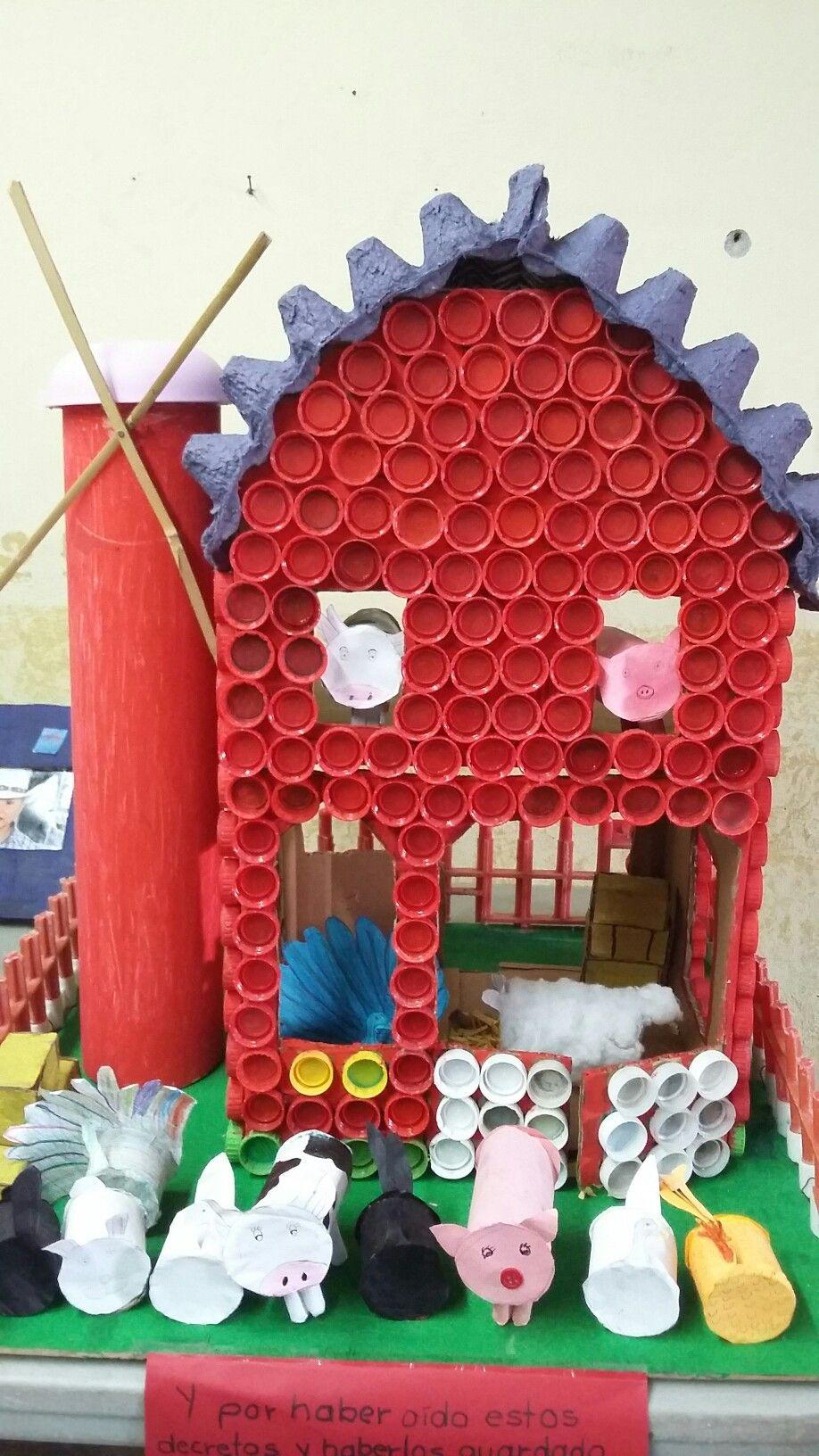 Reciclado casita de tapas de refresco rollos de papel tubo pemex y cart n de huevo muy - Que manualidades puedo hacer ...