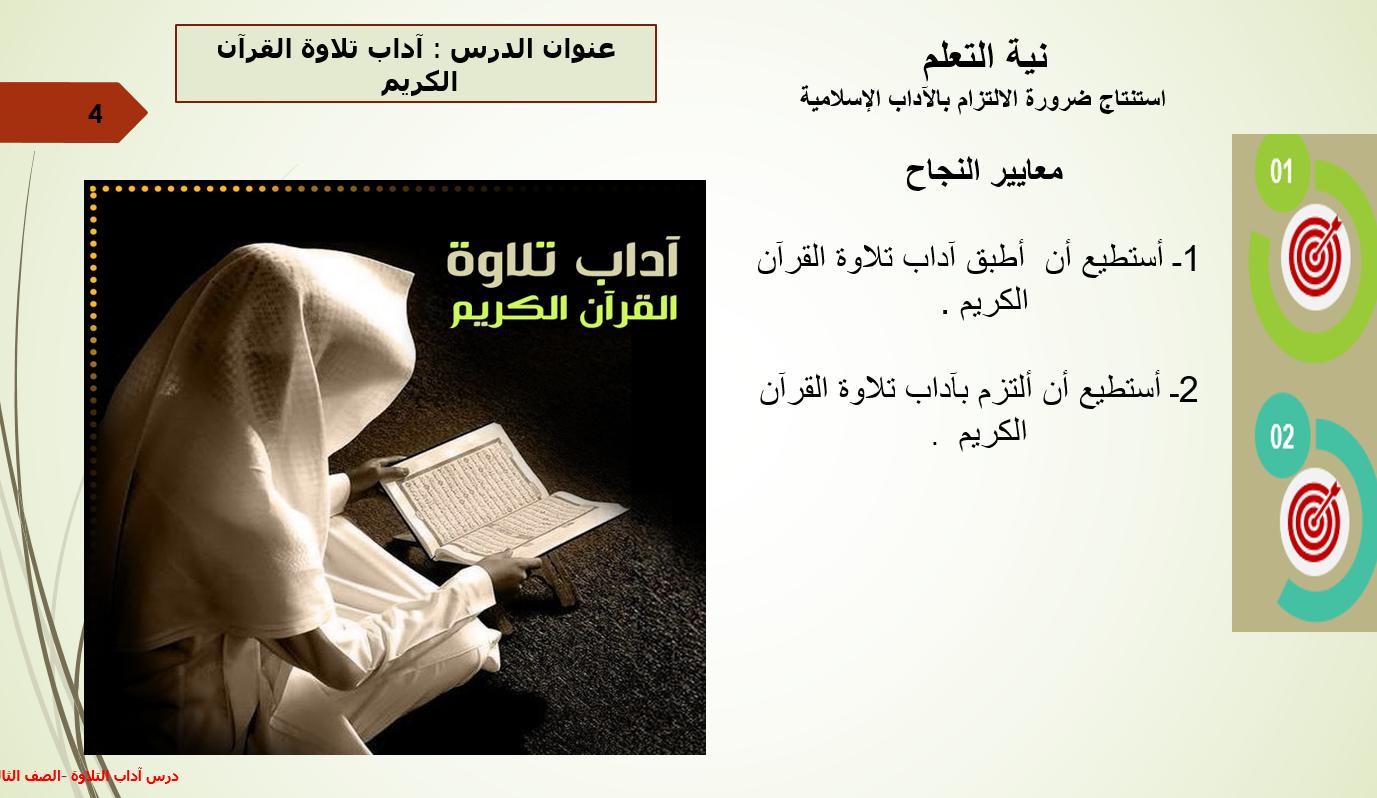 بوربوينت درس اداب تلاوة القران الكريم للصف الثالث مادة التربية الاسلامية