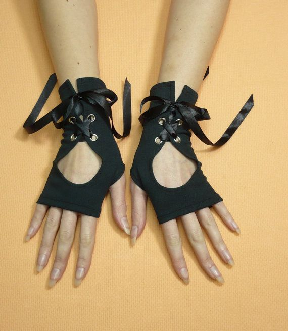 Black Gothic Gloves with Corset Closure Jersey by estylissimo.