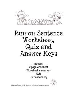 Run-on Sentence Worksheets, Quiz and Answer Keys ...