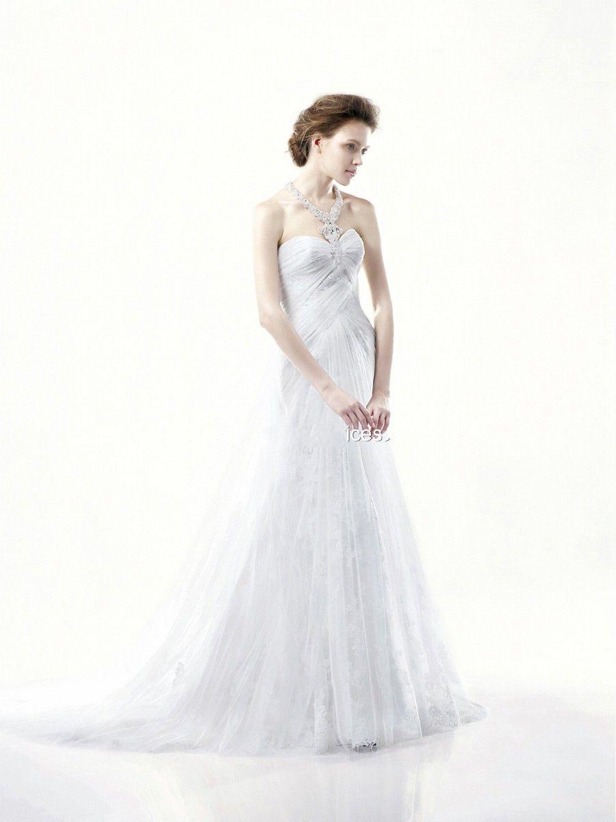 Fascinating halter jeweled neck white tulle sheath style dress of