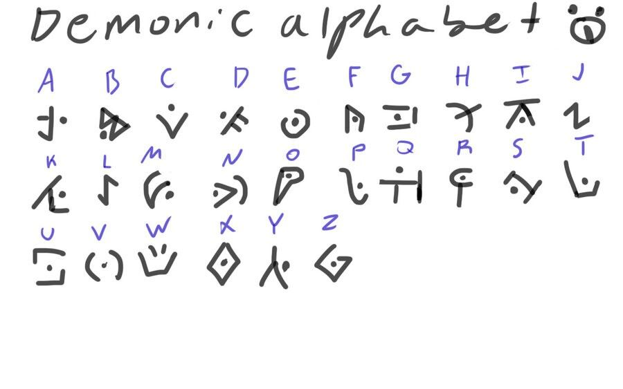 Demonic Alphabet Cool Huh Ad Mix Pinterest Alphabet Symbols