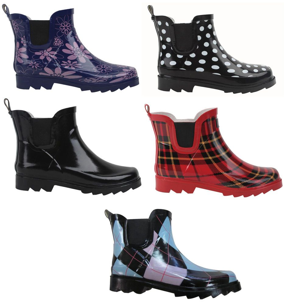 Women's Comfy Printed Short Wellies Rain Boots Ankle High Rubber Shoes