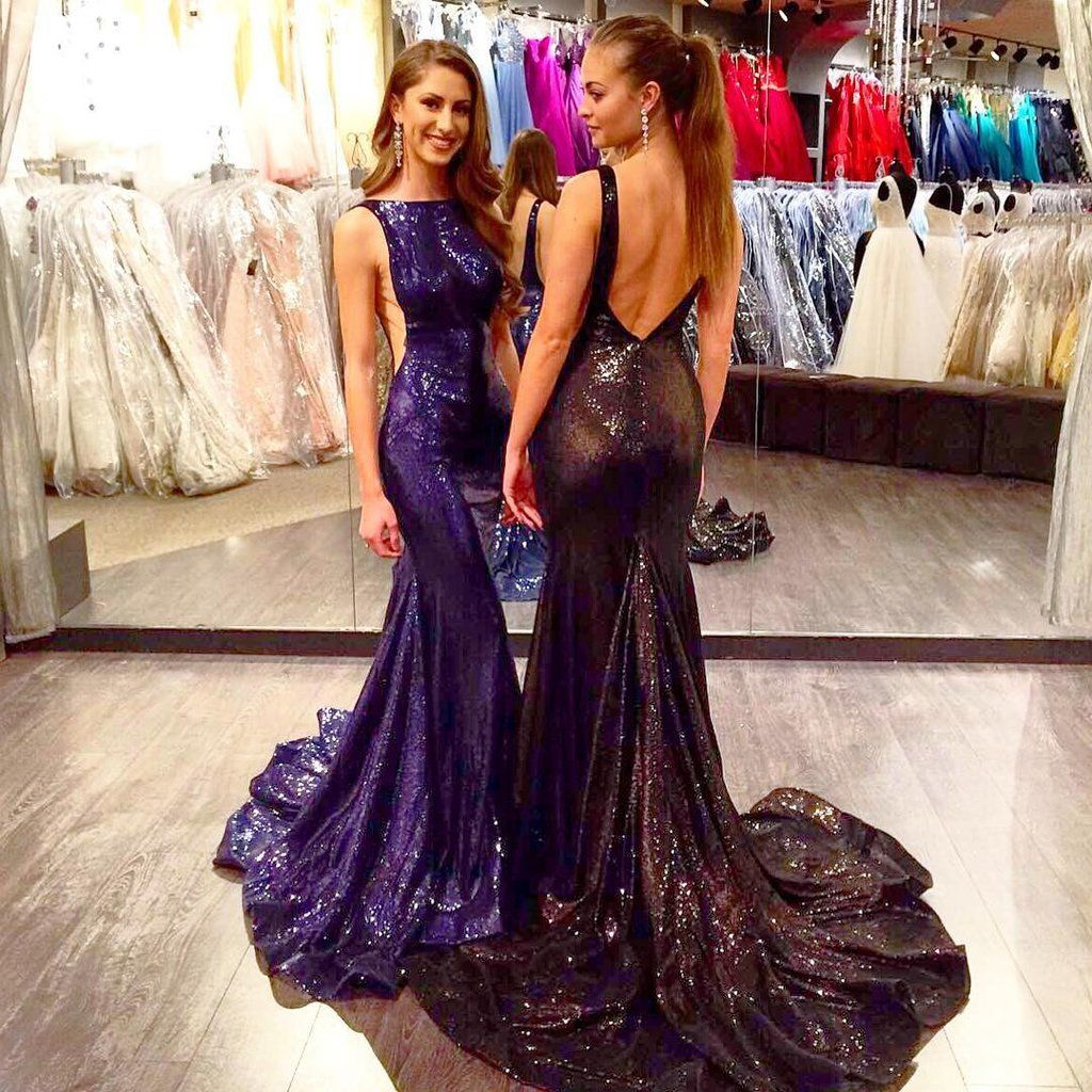 Gorgeous sexy scoop neckline backless long mermaid sequin prom