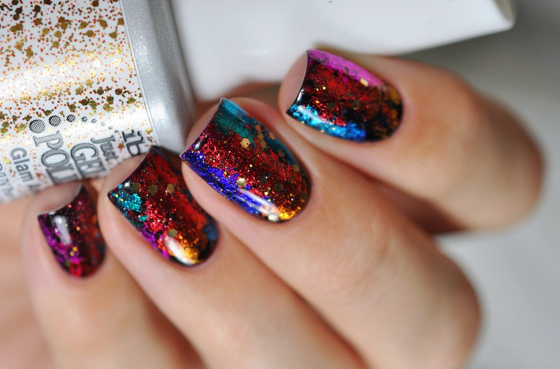 New Year nails tutorial - gel polish with nail art transfer foils ...