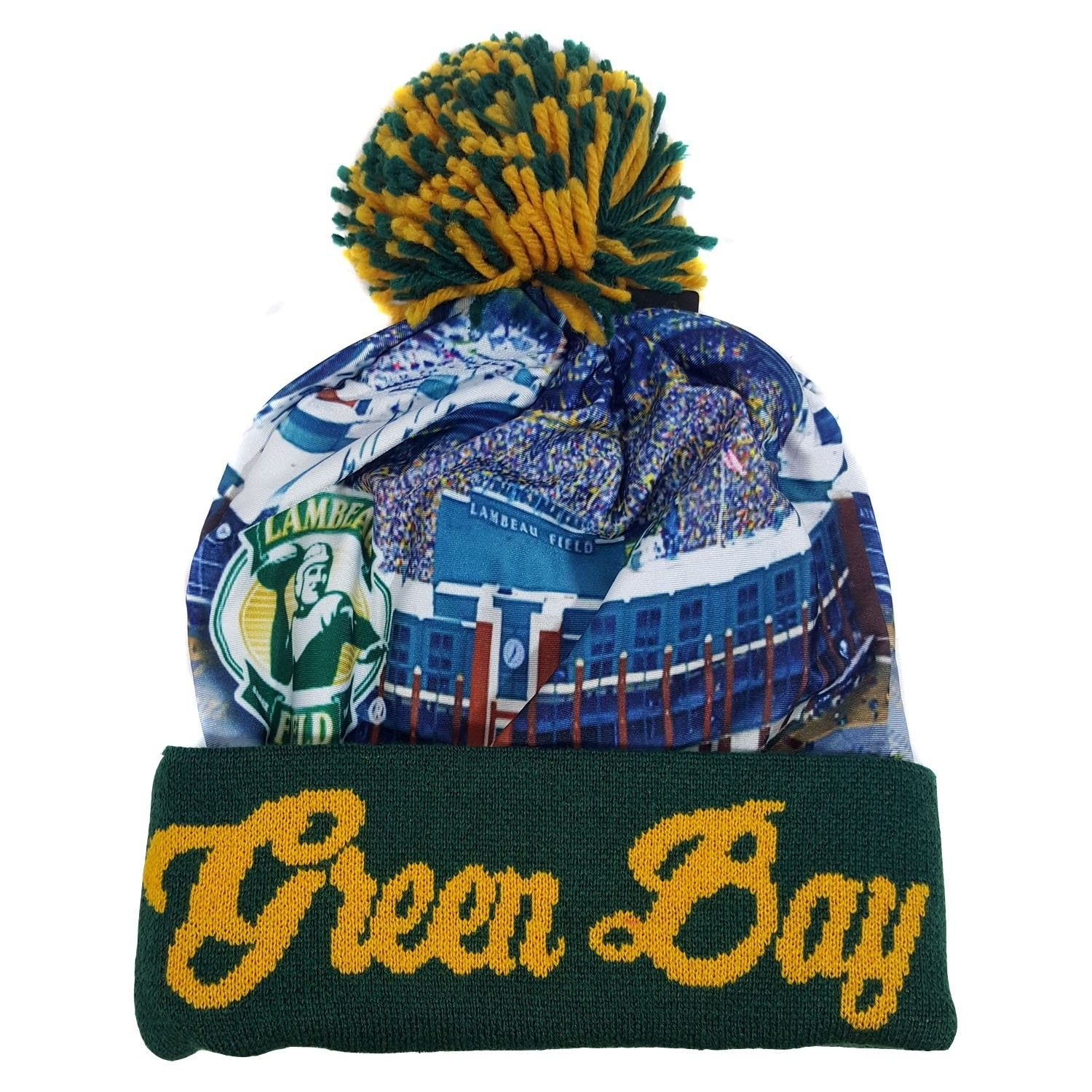 Green Bay Winter Picture City View Beanie Skull Cap - CQ12N7F6XGA - Hats    Caps 2d5d2c9a64f