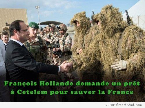 Dernier recours pour François Hollande, demander un prêt à Cetelem pour sauver la France !