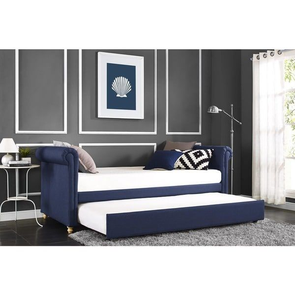 Silver Orchid DHP Sophia Navy (Blue) Linen Upholstered Daybed and