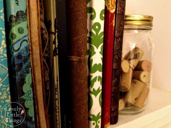 I dig this...wine corks in a mason jar as a book end