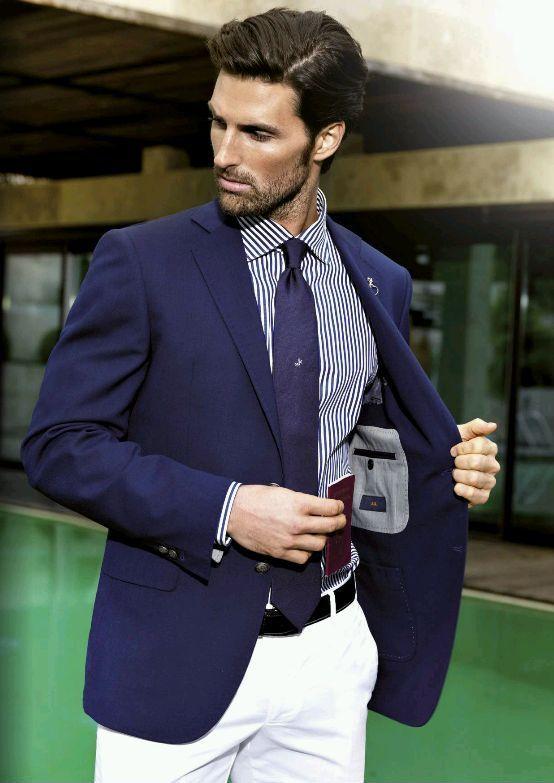 4a5c6d68231032 Men's Navy Blazer, Navy Vertical Striped Long Sleeve Shirt, White Chinos,  Navy…
