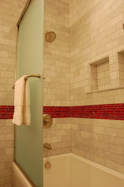 Shower Plus Tub Partial Glass Door Small Bathroom Ideas