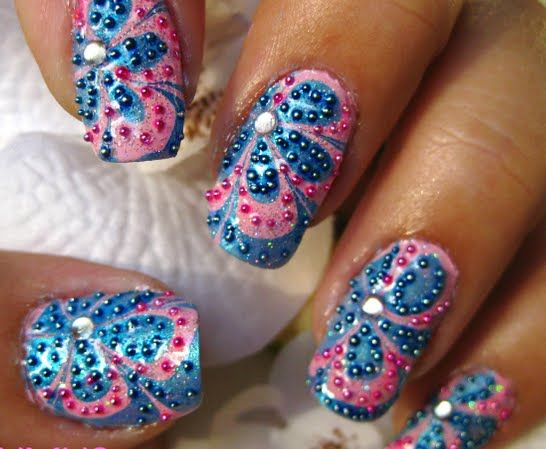 Microbeads Water Marble Nail Art | [ Diana's Nail Art ...