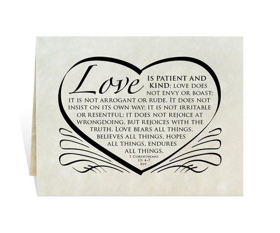 Wedding Card Program Invitation Love Is Patient And Kind Verse Calligraphy Heart Annivers