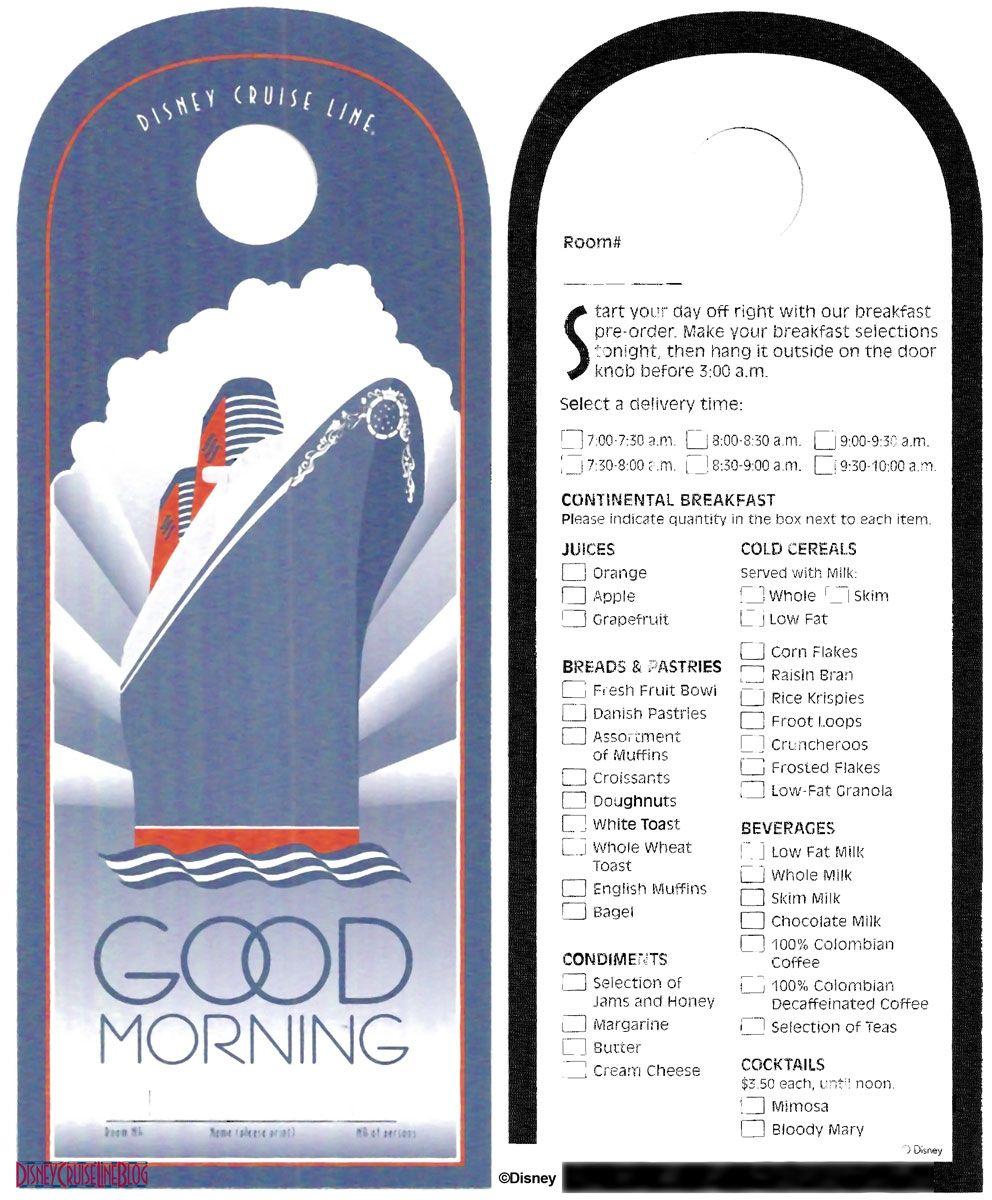 Good Morning Room Service Menu Door Hanger Disney Cruise