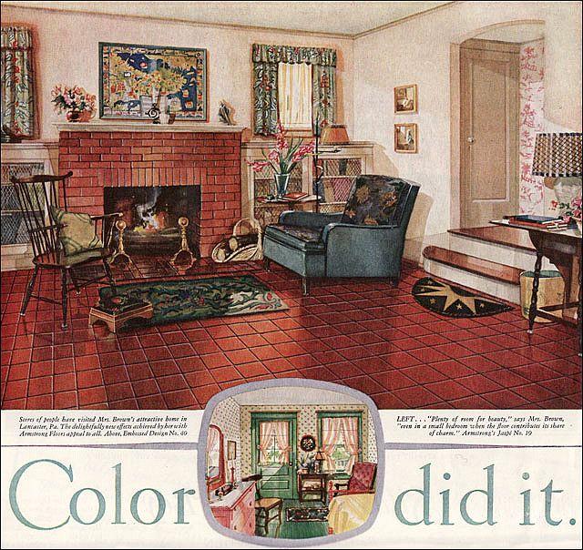 1928 armstrong linoleum ladies home journal in 2019. Black Bedroom Furniture Sets. Home Design Ideas