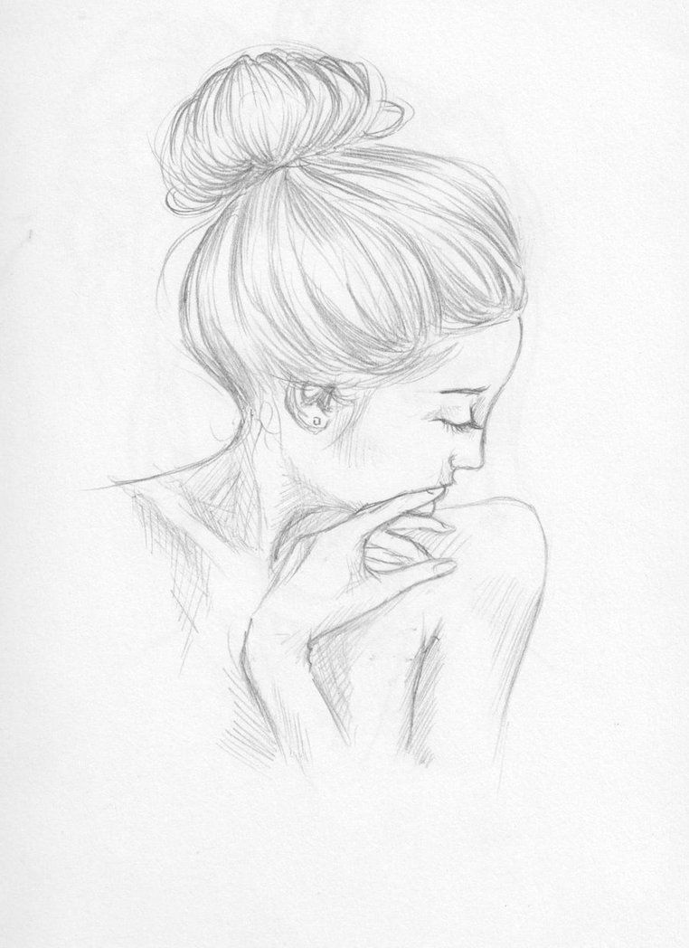 nude shy lady with a bun hairstyle. pencil drawing by