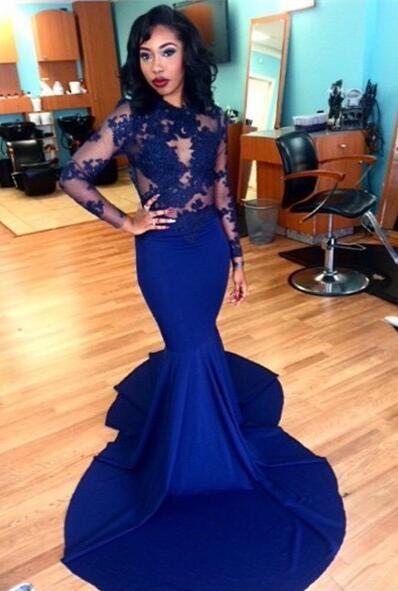 Long Sleeves Blue Mermaid Evening Dress Prom Dress from HelloDress ... 1154d5914
