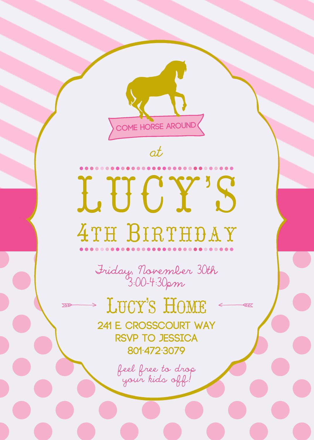 Horse Birthday Invitation for Girls | Amelia\'s 5th Bday Party ...