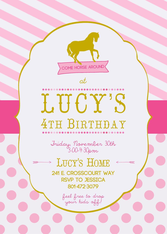 Horse Birthday Invitation for Girls | Amelia\'s 5th Bday Party ...