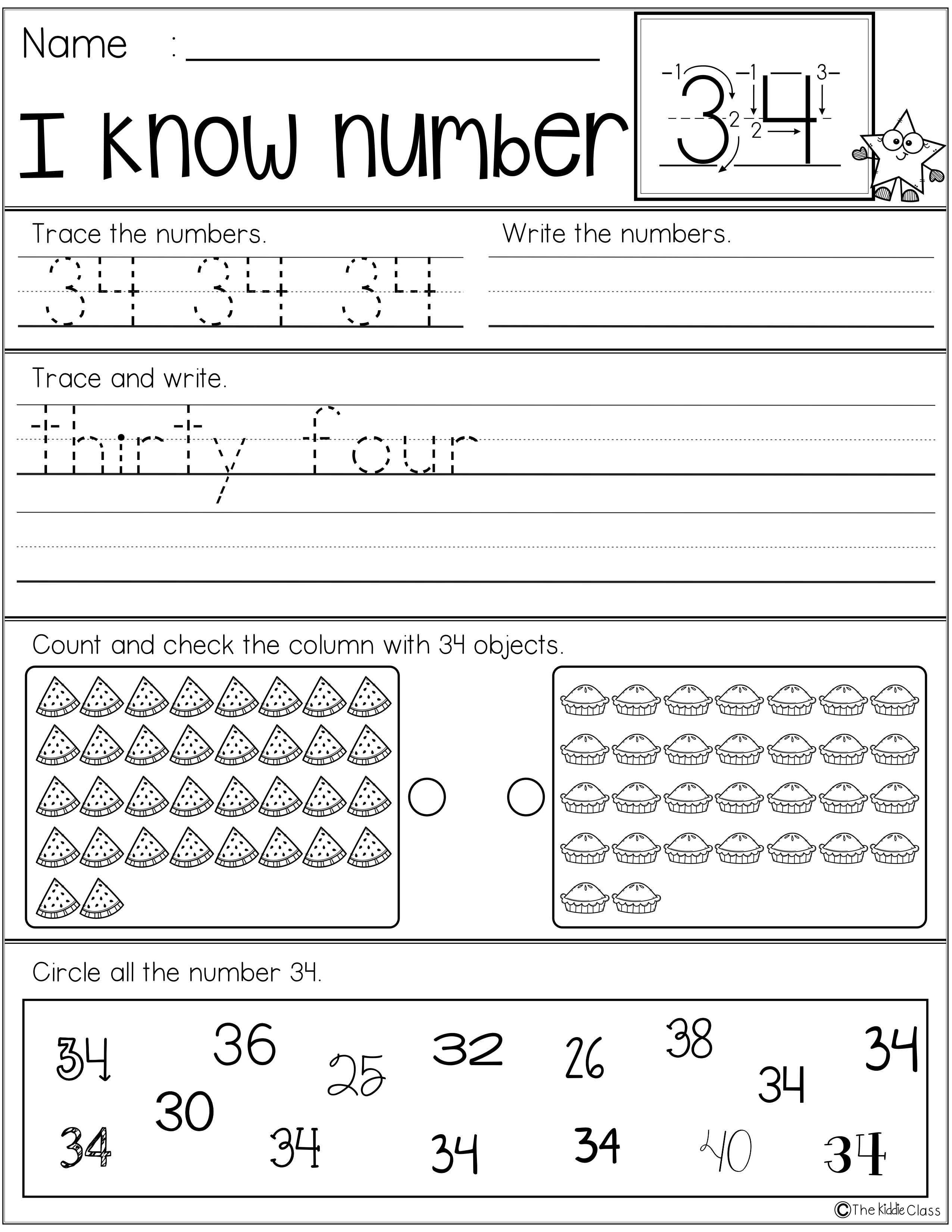 Number Practice Printables 21 40