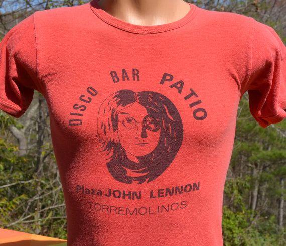 cb8a38915 vintage 70s rock t-shirt JOHN LENNON disco bar patio spain espana ...