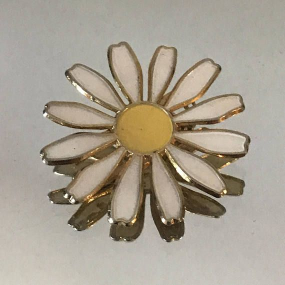 Vintage enamel flower daisy brooch pin yellow and white brooch