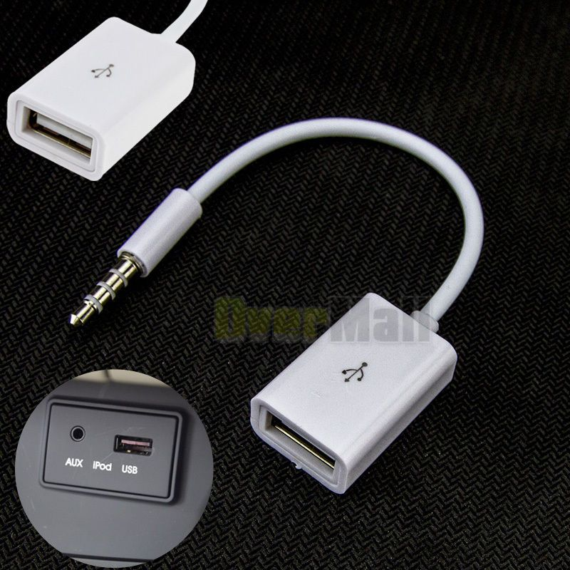 3.5mm Male AUX Audio to USB 2.0 Female Cable Cord for Car MP3