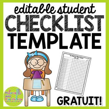 FREE Editable student checklist template EED Pinterest - editable checklist template