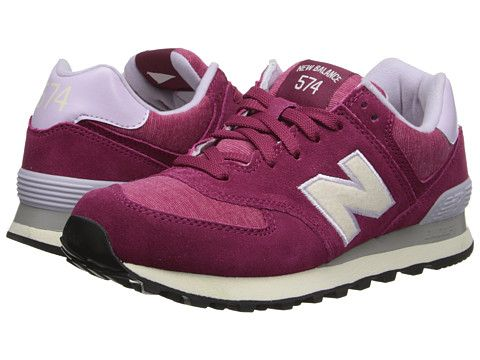 New Balance Classics WL574 - Pennant Collection Burgundy - Zappos ...