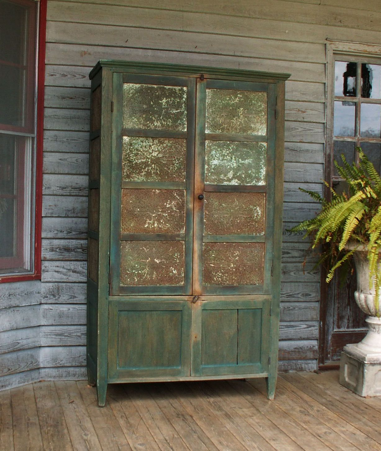 Chalk Paint Kitchen Cabinets Green: 1800s Primitive Pie Safe 16 Tins Old Style Blue Green