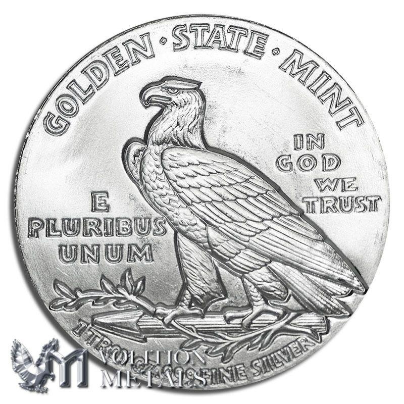 Incuse indian 1 oz 999 silver bullion round silver
