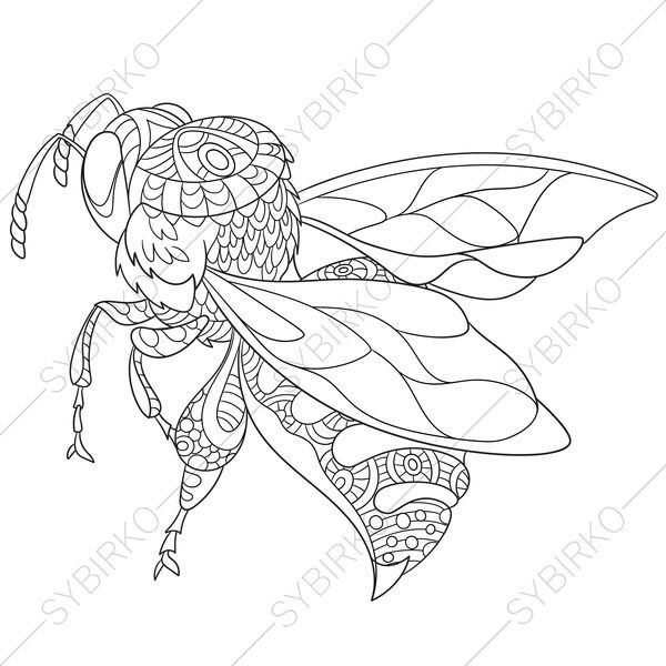 3 Coloring Pages Of Bee Zentangle Doodle Coloring Book Pages Bee Coloring Pages Coloring Pages Insect Coloring Pages