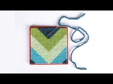 Cross Stitch For Beginners: Trendy Chevron Coasters - YouTube
