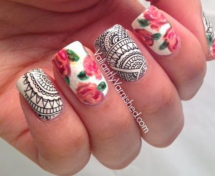 Valiantly Varnished: Rose and Lace Nail Art with Born Pretty Store Decals