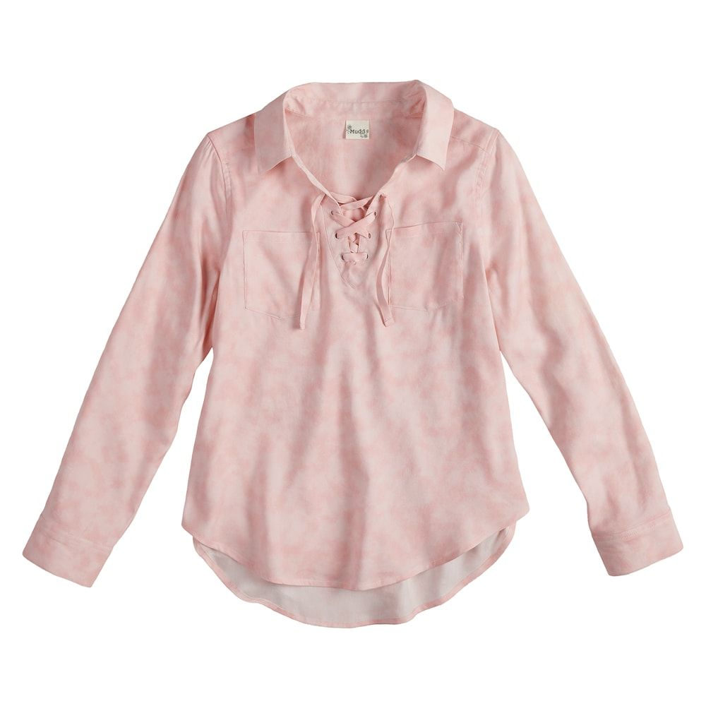 Girls u plus size mudd laceup popover chambray shirt size