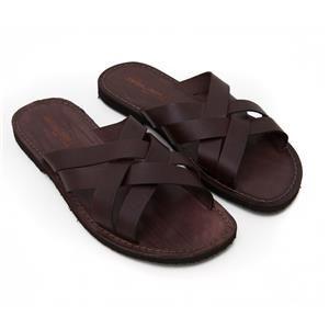 Uomo in Pelle Sandali Pantofole Marrone Ciabatte Scarpe TAGLIA 40 a 46 NUOVO
