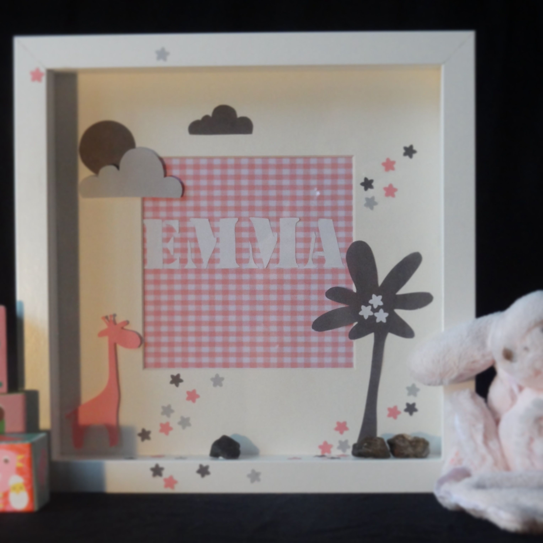 cadre 3d cadeaux de naissance bapt me anniversaire pour chambre d 39 enfant. Black Bedroom Furniture Sets. Home Design Ideas