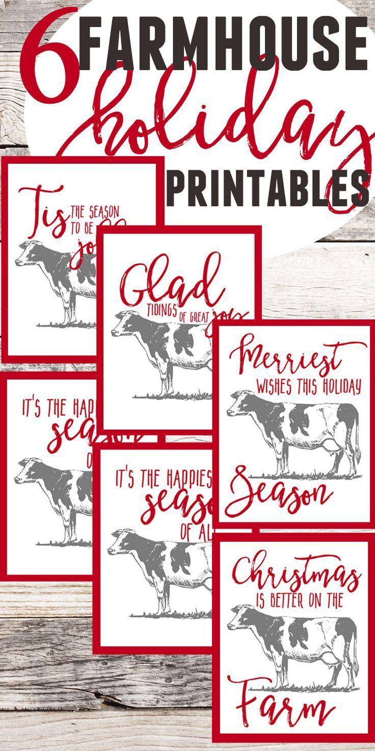 6 Free Farmhouse Christmas Cow Printable Art Free