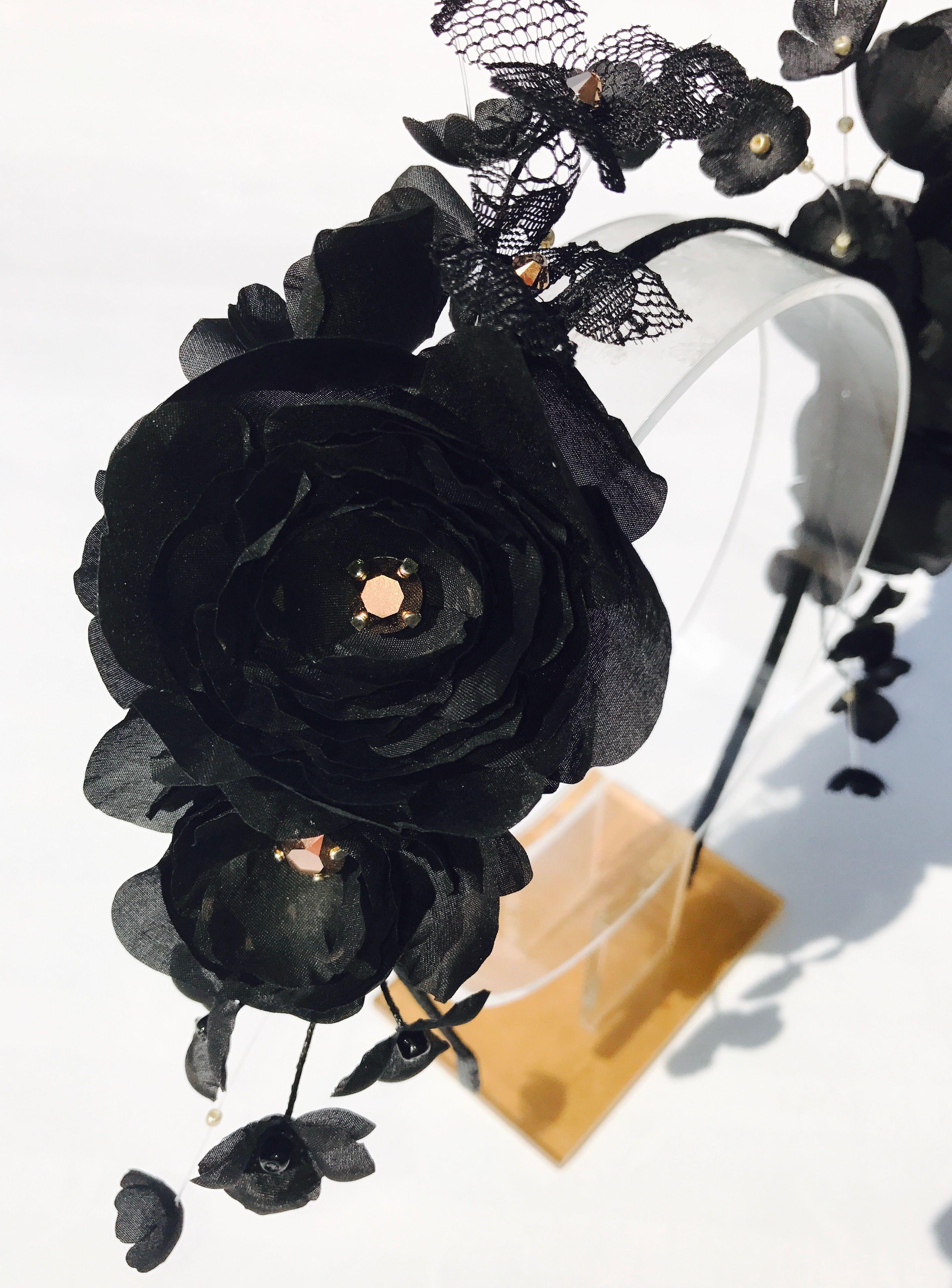 Derby Black Silk Floral Headband Black Silk Flower Headpiece