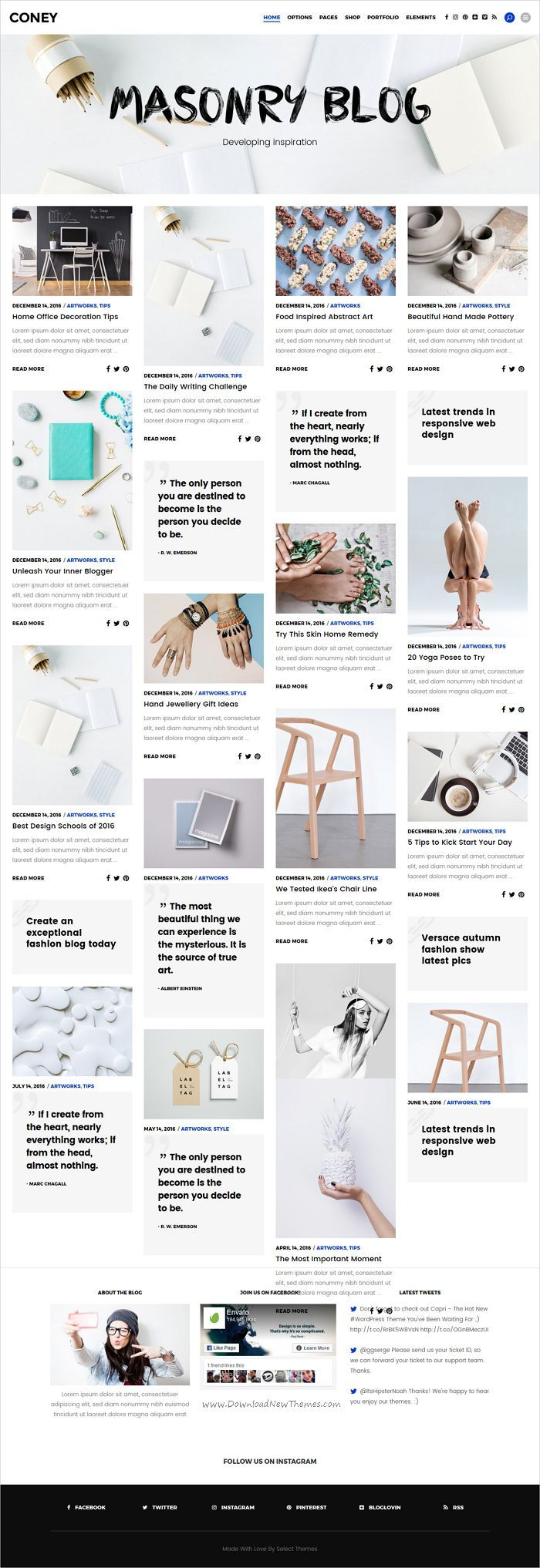 Coney is trendy and modern design responsive #WordPress #Pinterest style #blog theme for creative blogger and writers website with 12 distinct homepage layouts download now➩   https://themeforest.net/item/coney-a-trendy-theme-for-blogs-and-magazines/19306672?ref=Datasata