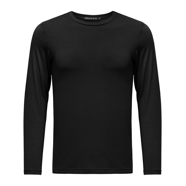 2ba462d2b Men's Long Sleeve Crew Neck T-shirt Plain Basic Spandex Tee - Black ...