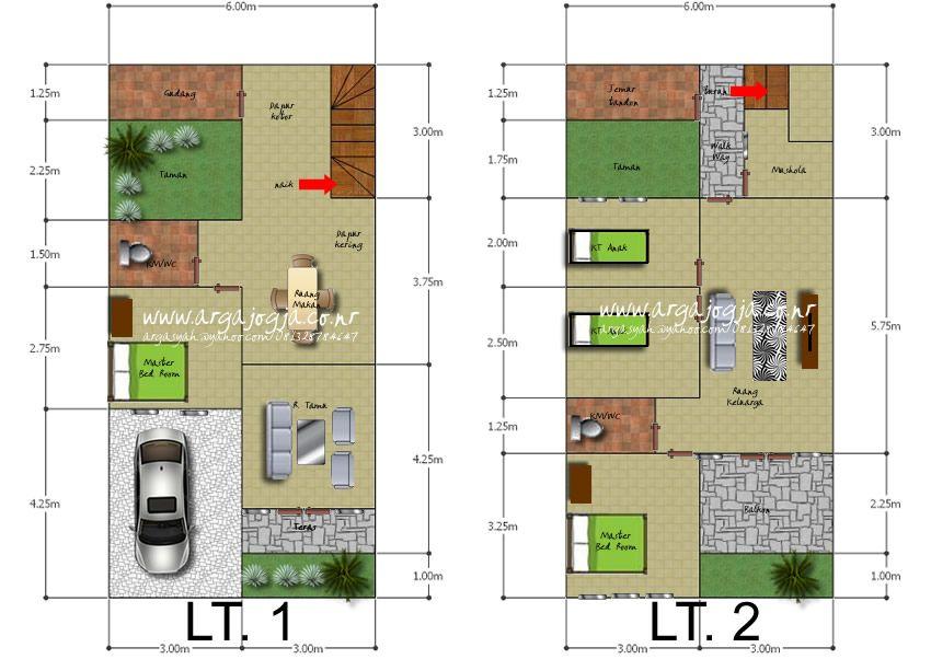Desain Denah Rumah 2 Lantai Mungil Luas 100 M2 Denah Rumah Rumah Desain