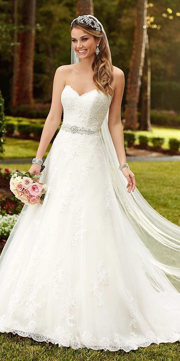 36 Gorgeous A Line Wedding Dresses | Wedding dress, Chapel train and ...