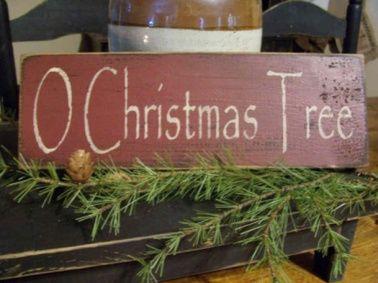 Primitive O Christmas Tree Wood Sign
