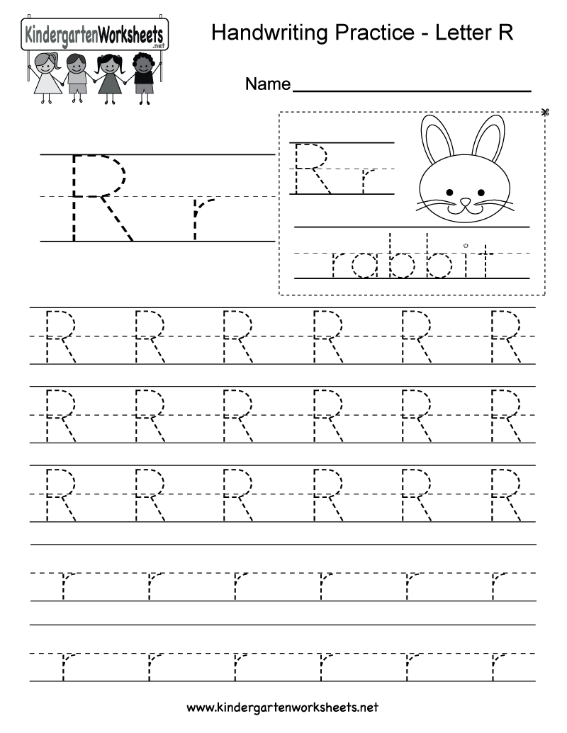 Worksheets Printing Practice Worksheets letter r writing worksheet for kindergarten kids this series of handwriting alphabet worksheets can also be cut out to make an or