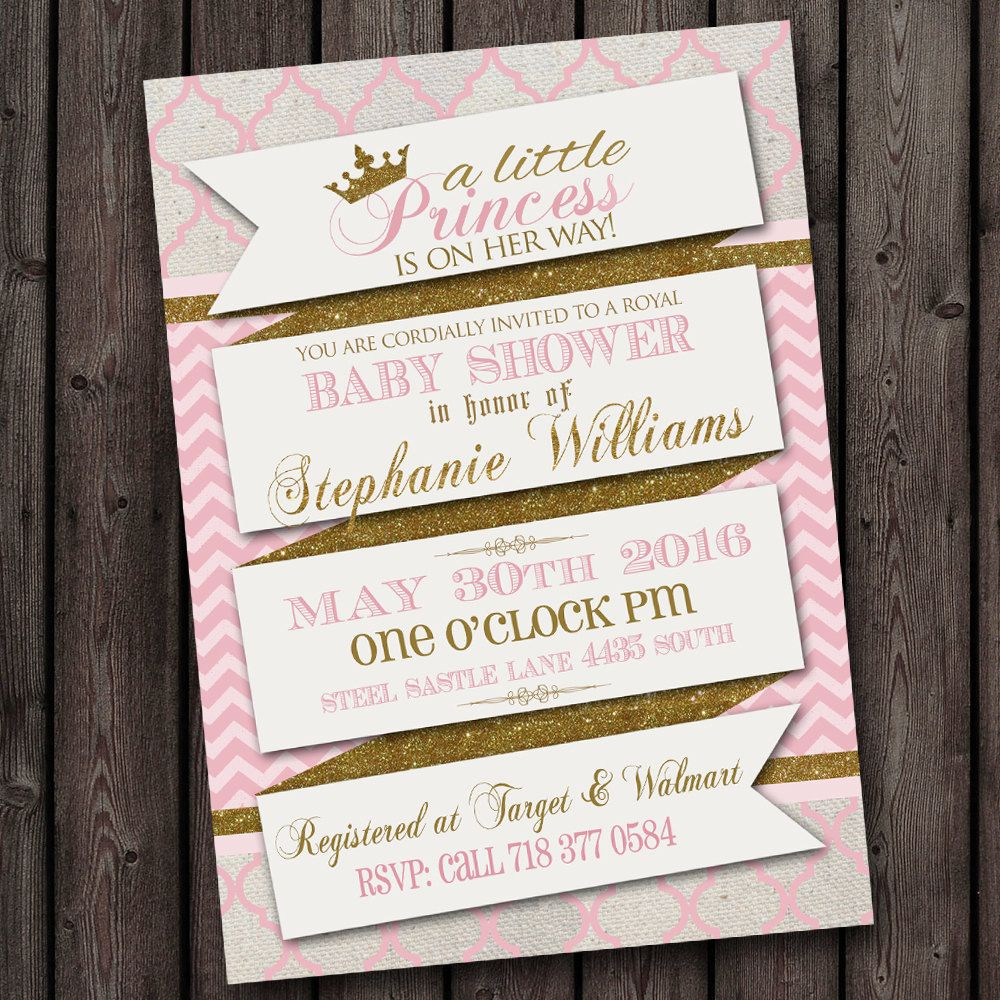 pink gold scroll royal baby shower invitation, princess baby shower ...