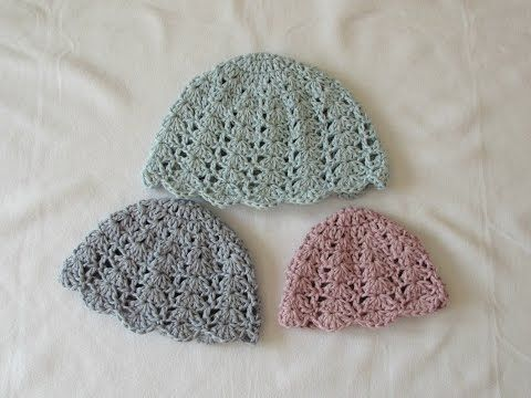 How to crochet an easy shell stitch hat - all sizes (baby to adult ...