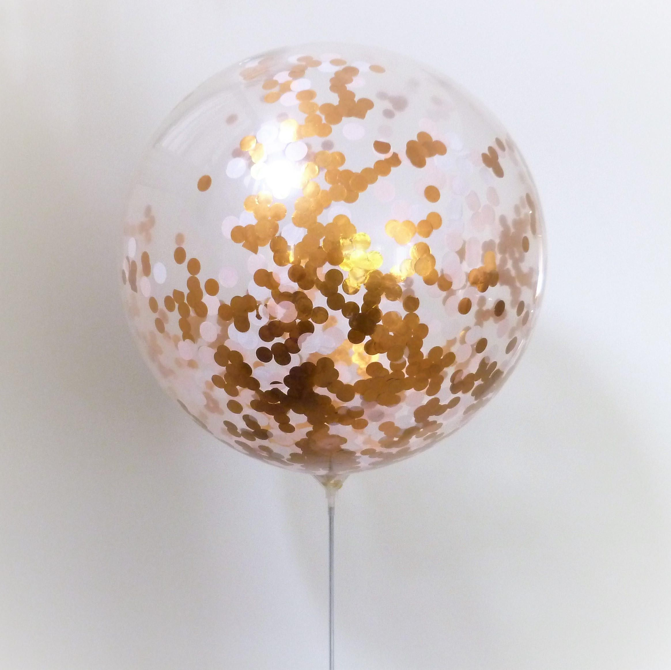 Set of 2 Confetti Balloon Giant Silver and White 60cm clear latex