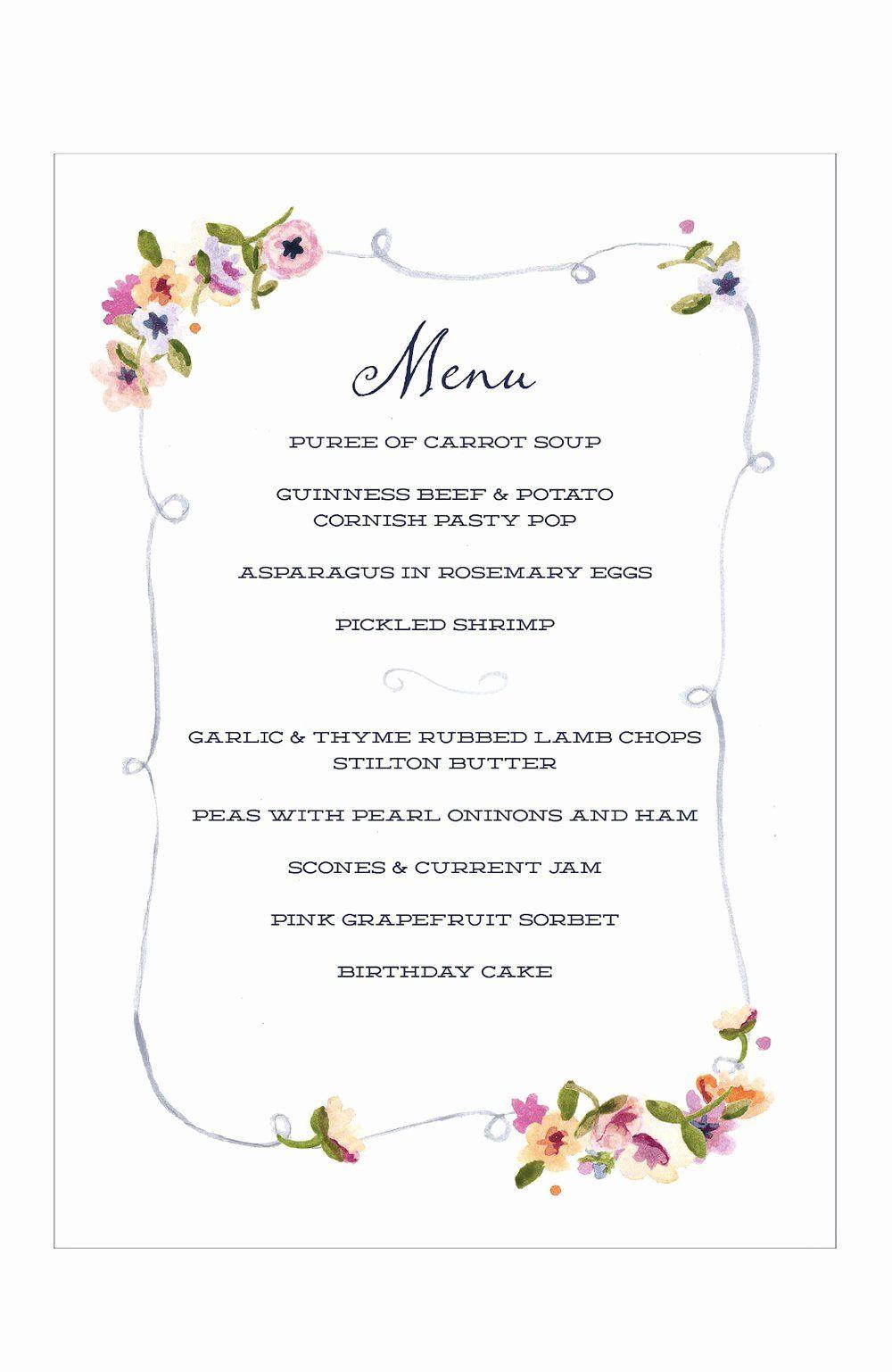 Dinner Menu Template Free Luxury Tea Party Menu Template Free Templates Tea Party Menu Party Menu Dinner Party Menu