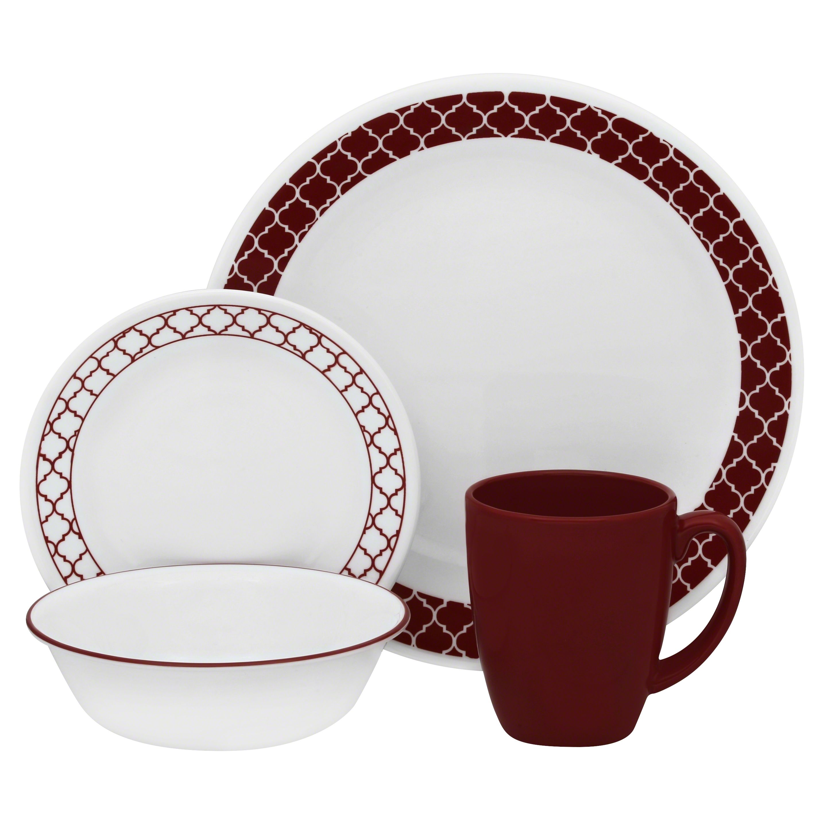 Corelle 16Pc. Dinnerware Set Crimson Trellis, Red (With